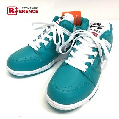 Supreme 17AW NIKE SB Air Force2 TEAL AF2 Force 2 sneakers enamel x leather  (K190 2757ef117