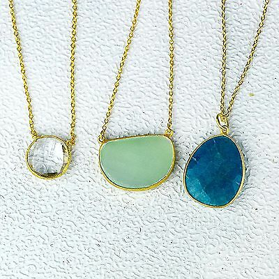"""Blue Aventurine Chalcedony Clear Quartz 3 Necklace 925 Sterling Silver 18"""""""