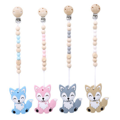 DIY Silicone Baby Pacifier Chain Lovely Fox Baby Dummy Pacifier Clip Toys BE