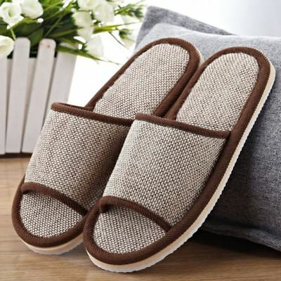 Women Men Anti-slip Flax Linen Soild Home Indoor Slippers Summer Open Toe Shoes