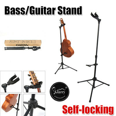 Foldable Musician's Gear Electric Acoustic and Bass Guitar Stand Black