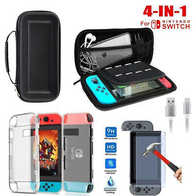 For Nintendo Switch Accessories Travel Carry Case Bag+Protector+Charging Cable