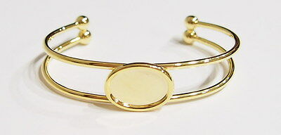 2 of 18x13 mm Gold Plated Cuff Bracelet Settings for Cameos, Cabochons or Glass