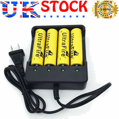 4X Flat 18650 3.7V 6800mAh Li-ion Rechargeable Battery&4.2V Charger (no Battery)