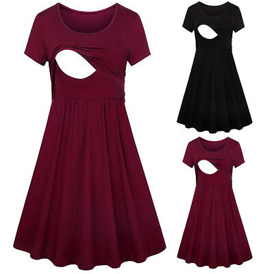 Maternity Nursing Women Pregnant Solid Breastfeeding Summer Maternity Dresses