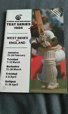 west indies v england 1986 test series programme