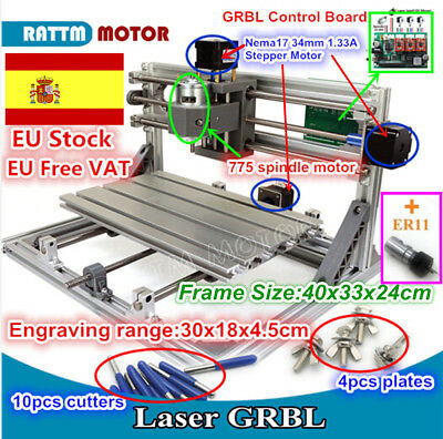 3018 Mini Desktop CNC Router PCB Wood Milling Engraving Laser Machine+Collet【ES】