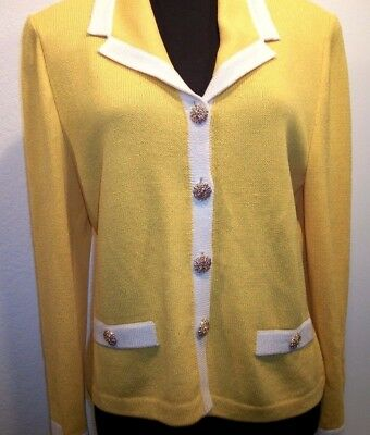 St. John Collection by Marie Yellow White Trim Knit Blazer Jacket size 8
