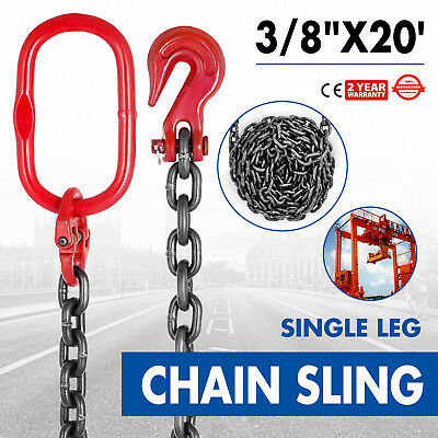 "3/8"" x20' GRADE 80 Chain Sling Lifting Breaking Load 29760lb Powder Coating"