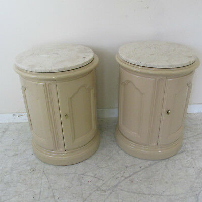 Pair Vintage French Provincial Style End Tables/Nightstands with Marble Tops