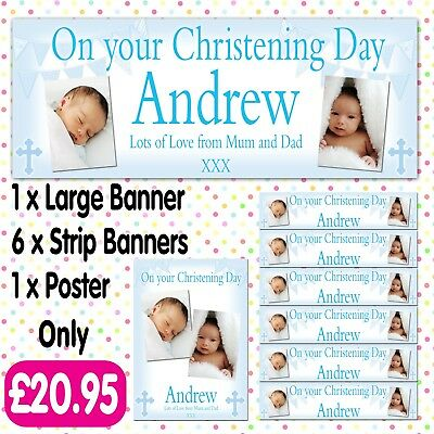 Personalised Photo Party Banners Christening Communion Baptism Banner Packs A014