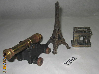 Vintage Brass Paris France Figures: 5'' Eiffel Tower, 2'' Arc de Triomphe, Canno