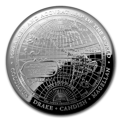 2019 Australia Terrestrial Domed Series Map Of The World 1 oz Silver Proof Coin