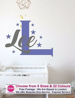 Boy Girl Name Sticker wall Star Stars Nursery Children bedroom decor Kids