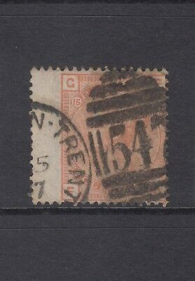 """GB QV 4d Vermilion SG152 Plate 15 Four Pence """"FG"""" Used Stamp 1876 - Large Garter"""