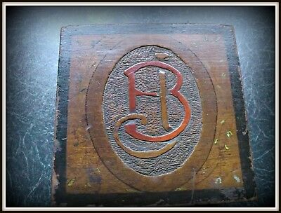 (no:64) vintage antique wooden box carved initial B hand painted tiny flowers