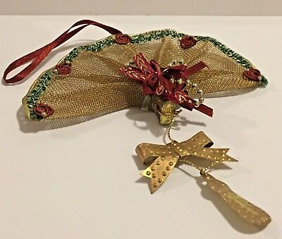 Ladies Fan Christmas Ornament Victorian Style Gold Tone Metal Mesh Red Rose Trim