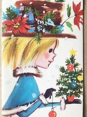 Angel's Auction Vintage Retro Girl With Big Hat Ornaments Tree Cape Xmas Card