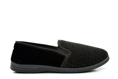 Mens Extra Large Slippers Slip On Slippers Twin Gusset Black Size 12/13/14