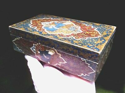 Fine Antique 19Th C Hand Painted Persian Wooden Box With Scenes Of Men Top/sides