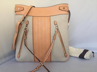 25f28d66891d AUTH  498 NWT Tory Burch Moto Tall Natural Canvas Leather Swingpack  CrossBody