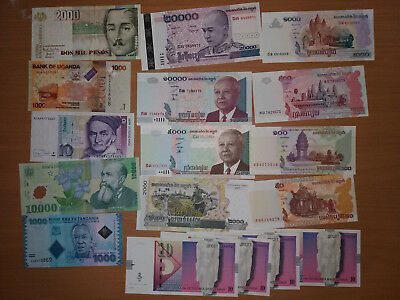 Lot of banknotes (Zimbabwe, romania, germany and other) XF - Unc (32 banknotes!)
