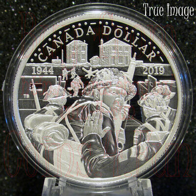 1944-2019 75th D-Day Anniversary Juno Beach $1 Proof Pure Silver Dollar Canada