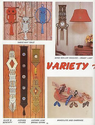 Vtg Macrame Owl & Lampshade Patterns The Spice of Macrame Craft Book PD1052