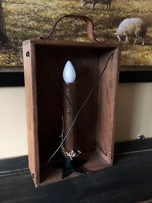 Primitive Early Look Homestead Candle Box Lighting