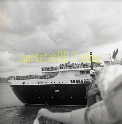 Stern View of SS United States Leaving Dock - Vintage Negative c1950s 11006