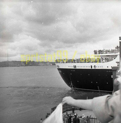 Stern View of SS United States Leaving Dock - US Lines - Vintage Negative c1950s