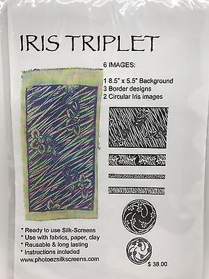 Ginny Eckley IRIS TRIPLET Ready-to-Use Silk Screen Stencils, 6 Images (RF611)