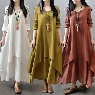 Women Dress Solid Color Round Collar Long Sleeve Loose Long Length Dress AZ