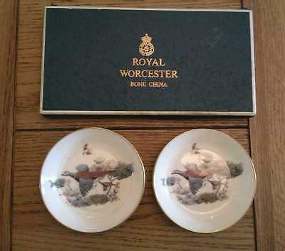 Pair of Boxed Royal Worcester Bone China  Pin Dishes with game bird pattern