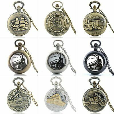 Men's Steampunk Train Car Antique Pocket Watch Chain Necklace Pendant Classic