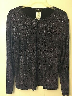 6f56c9212 ONYX Nite Women's Top Glitter Long Sleeve Black Evening Jacket Blouse S  A215-246