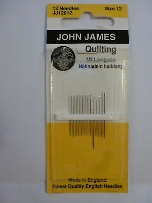 John James Quality Quilting Sewing Needles 12 needles size 12 JJ12012