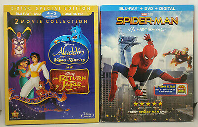 Return of Jafar/Aladdin King Thieves Blu-ray+Slip/SpiderMan Homecoming NoDigital