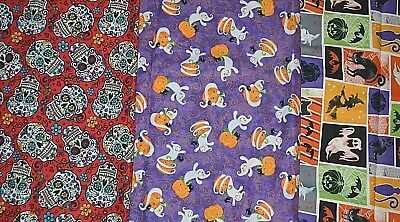 Halloween Fabric Choice Ghosts Purple Skulls Pink Square 1/2 YARD Davids Textile
