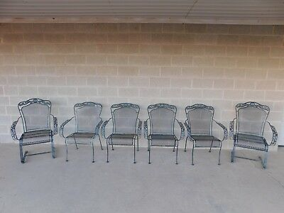 Russell Woodard Style Wrought Iron Set of 6 Arm Chairs