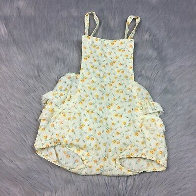 Vintage Baby Girls Cream Yellow Orange Floral Striped Ruffle Sunsuit Romper