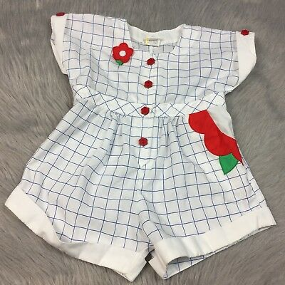 Vintage Toddler Girls White Blue Red Checkered Cuffed Floral Romper