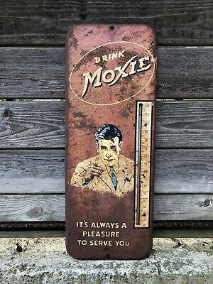 Vintage 1930's Moxie Soda Thermometer Advertising Sign