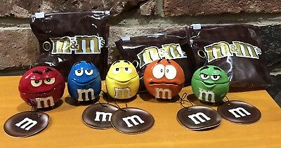 5 Piece Set Lot Red Blue Orange Yellow Green M&M Monet Box Enamel $125