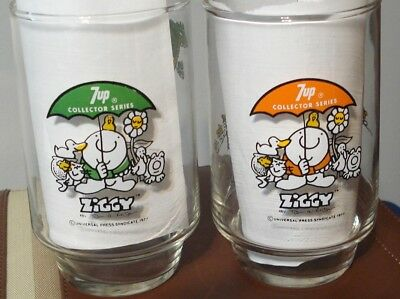 (2) Ziggy Here's To Good Friends 7 Up Series Collectors Glasses