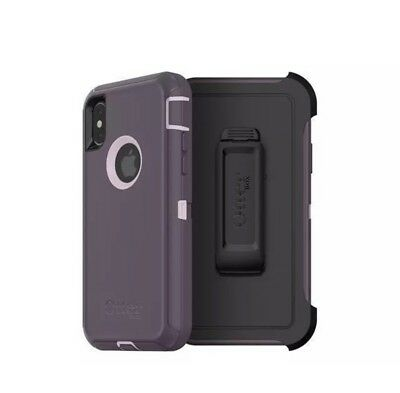 GENUINE! OtterBox Defender Screenless Case Cover & Clip iPhone X Purple OEM NEW!