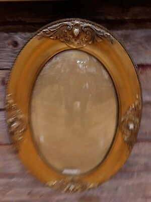2 Ornate Antique Metal Victorian Picture Frame Oval Curved Convex