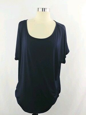 b6e58c94271 Simply Emma Womans Blouse Top Plus Size 2X Navy Blue Solid Short Sleeve GUC