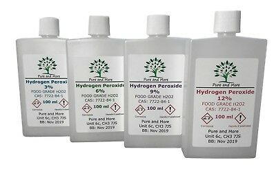 100 ml Hydrogen Peroxide Food Grade, 3%, 6%, 9% or 12%. FREE & FAST UK Postage