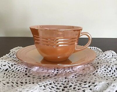 Fire King Peach Lustre 3 Band Cup & Saucer